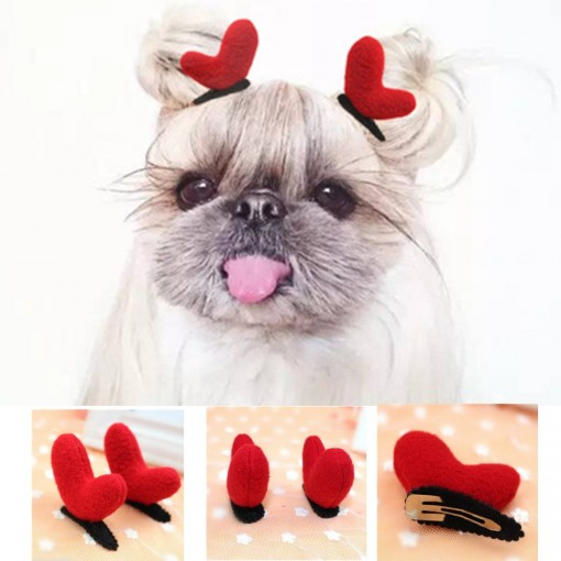 Heart Clip Antlers Dog Pet Accessories Hairpin