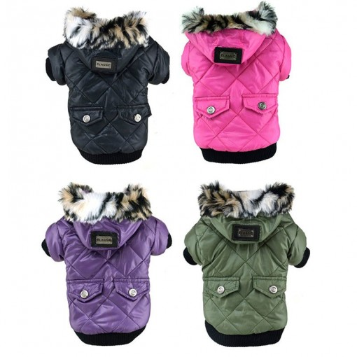 Cute Warm Coat For Pet Faux Pockets