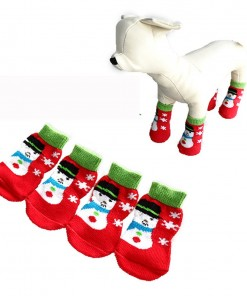 Christmas Pet Dog Socks Snowman