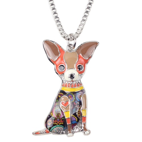 Chihuahuas Dog Necklace - brown