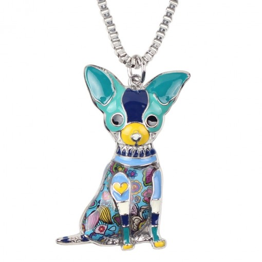 Chihuahuas Dog Necklace - blue